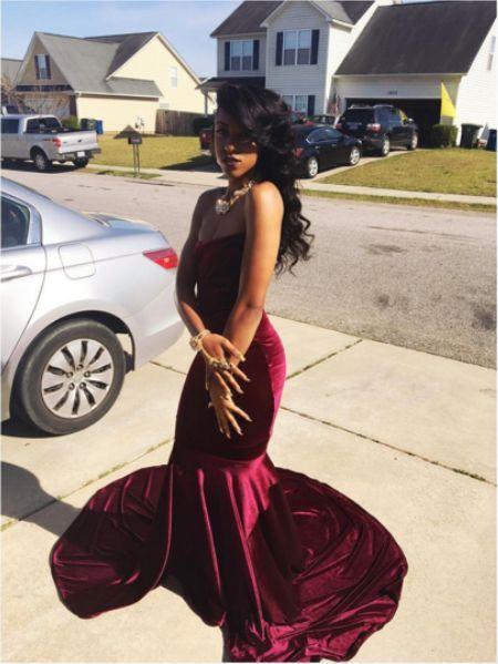 63d57eebe33c2 Wine Red Burgundy Mermaid Velvet Prom Dresses Strapless African Girl ...