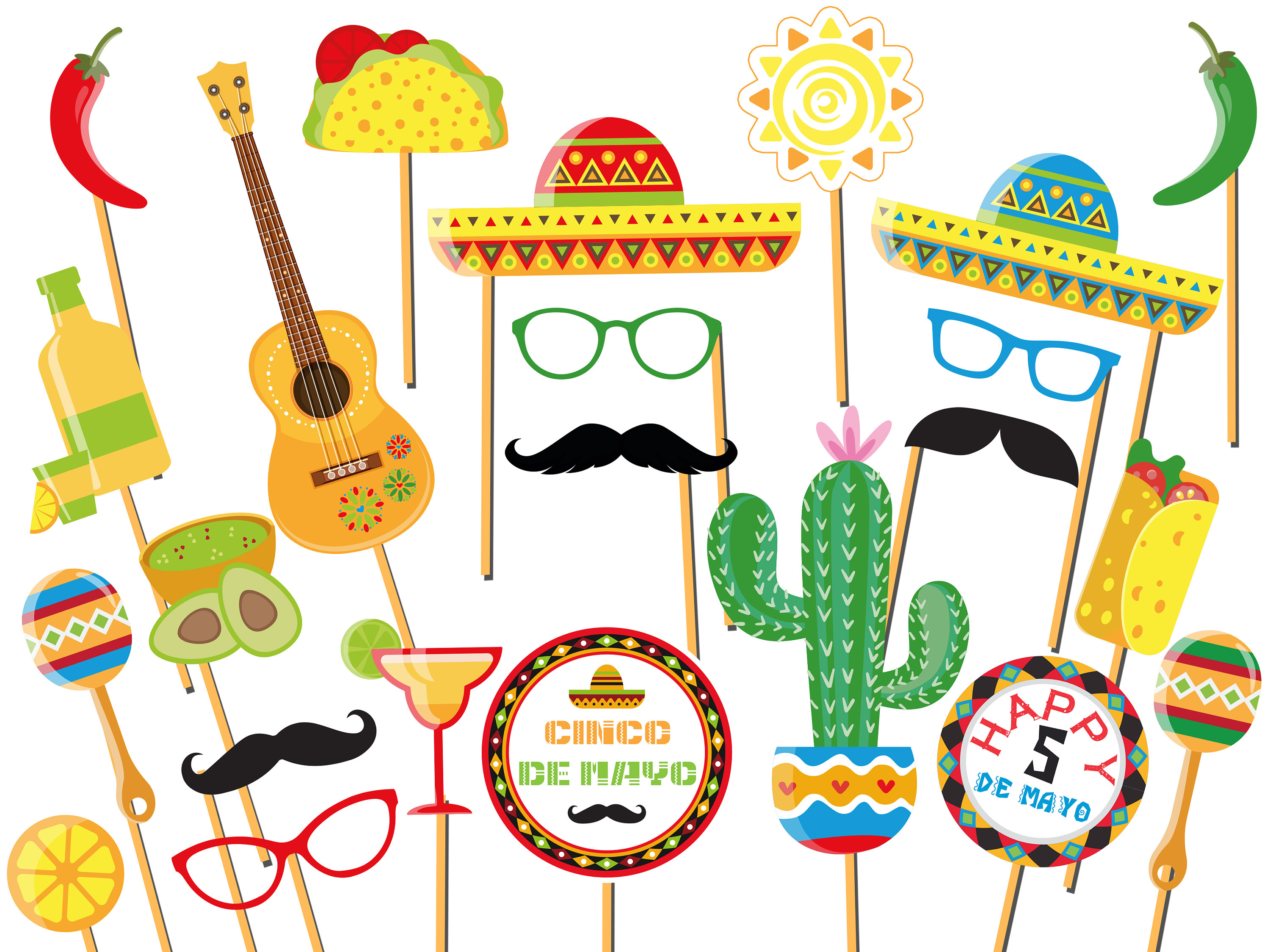 Fiesta Photo Booth Props - Mexican Fiesta Party - Mexico Photo Booth Prop-  Cinco de Mayo Props - Selfie Photo Props - Fiesta Party