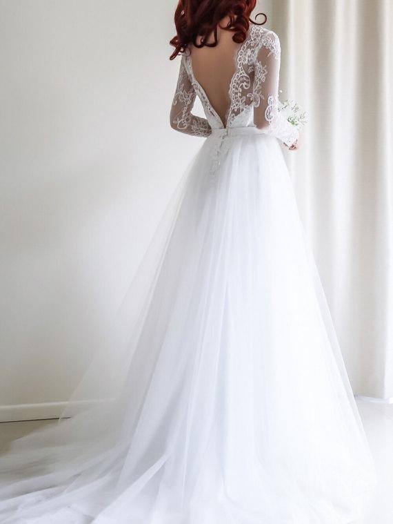 0c7fa17d1c52b Elegant A-line Long Sleeves White Lace Wedding Dress on Storenvy