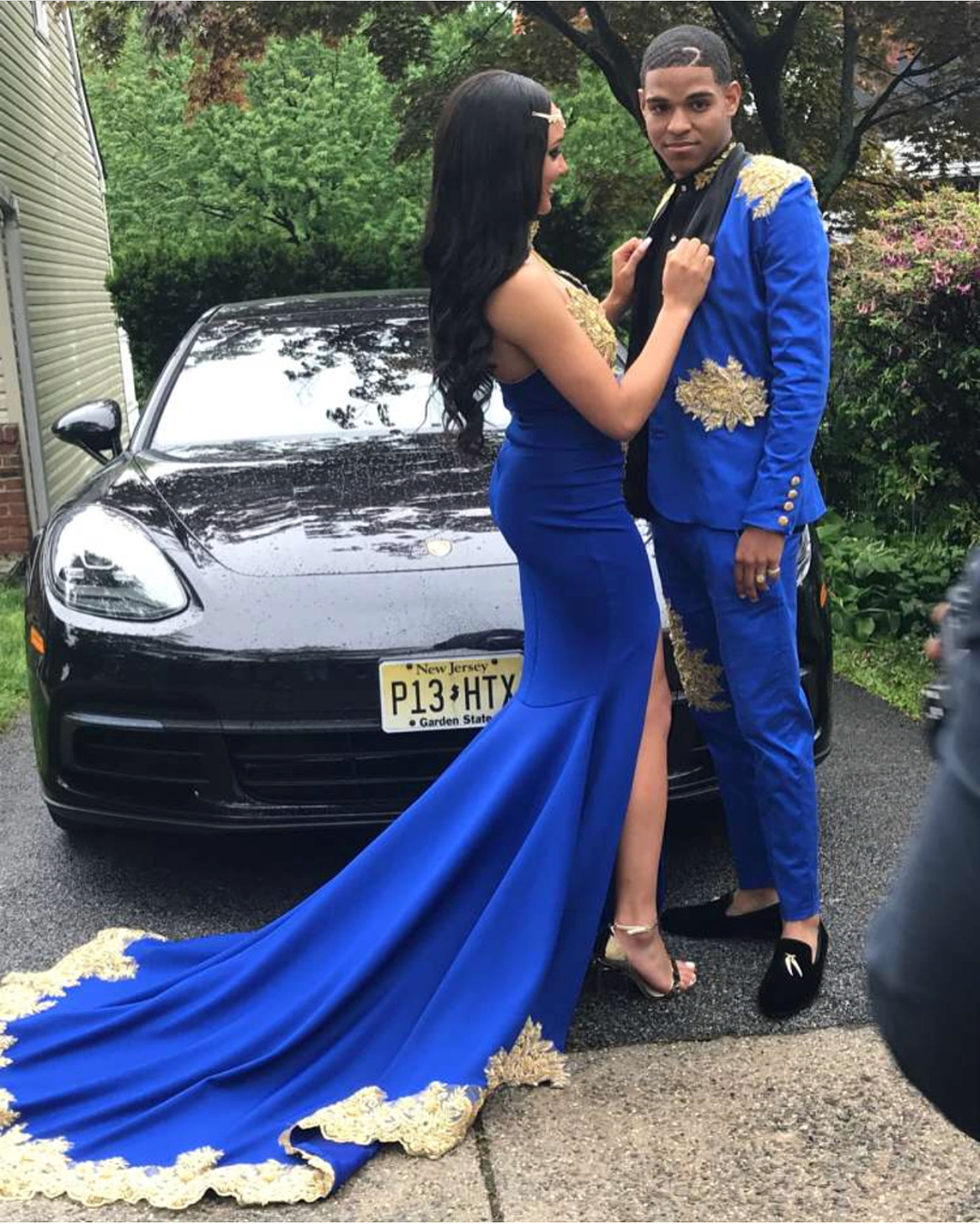 85e90cdc98c1 Gorgeous Royal Blue Mermaid Prom Dress,Gold Appliques High Neck Spaghetti  Straps Sexy V-