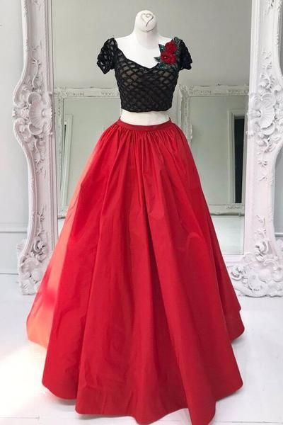 5fa6d4f8e4 Red tulle two pieces sequins A-line long evening dresses