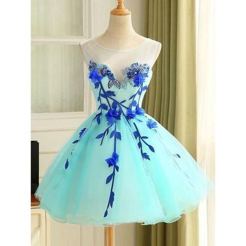 Flower Homecoming Dresses Light Blue A Line Princess Homecoming Dresses Short Light Blue Prom
