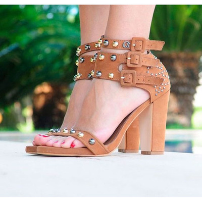 87513b483af Rivets hasp open toe ankle straps high chunky heel sandals q-0045 -  Thumbnail 4