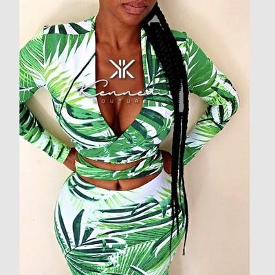 """7d706148951b Custom """"palm springs"""" 2 piece wrap top and high waist midi skirt"""