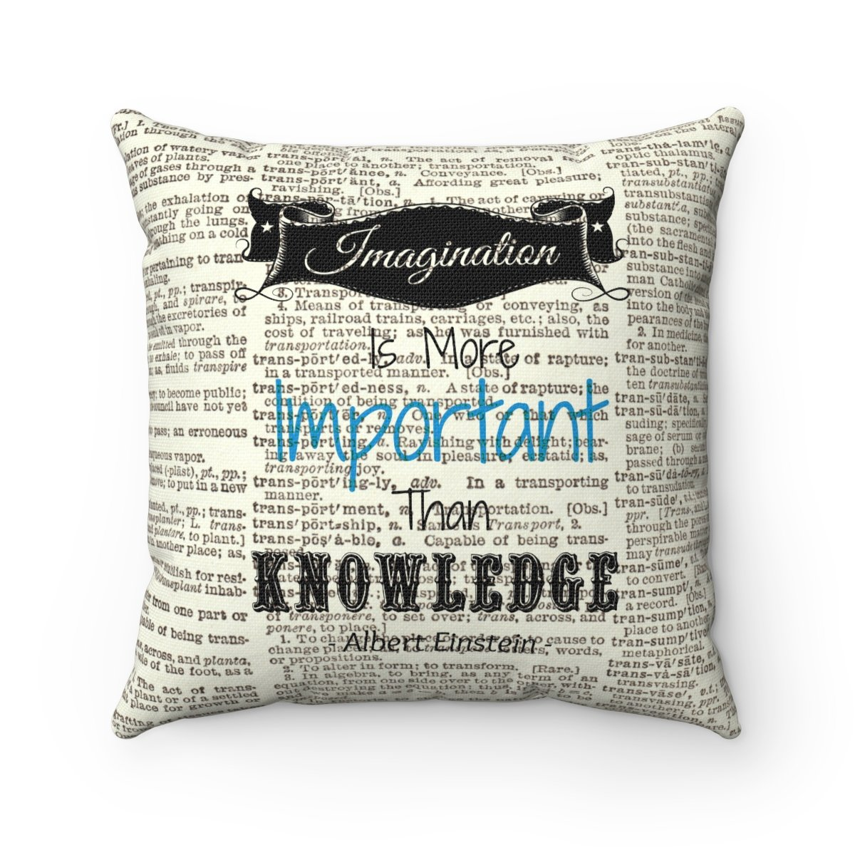Imagination is More Important than Knowledge -Albert Einstein Quote-  Dictionary Art Cover sold by Muz and Faz