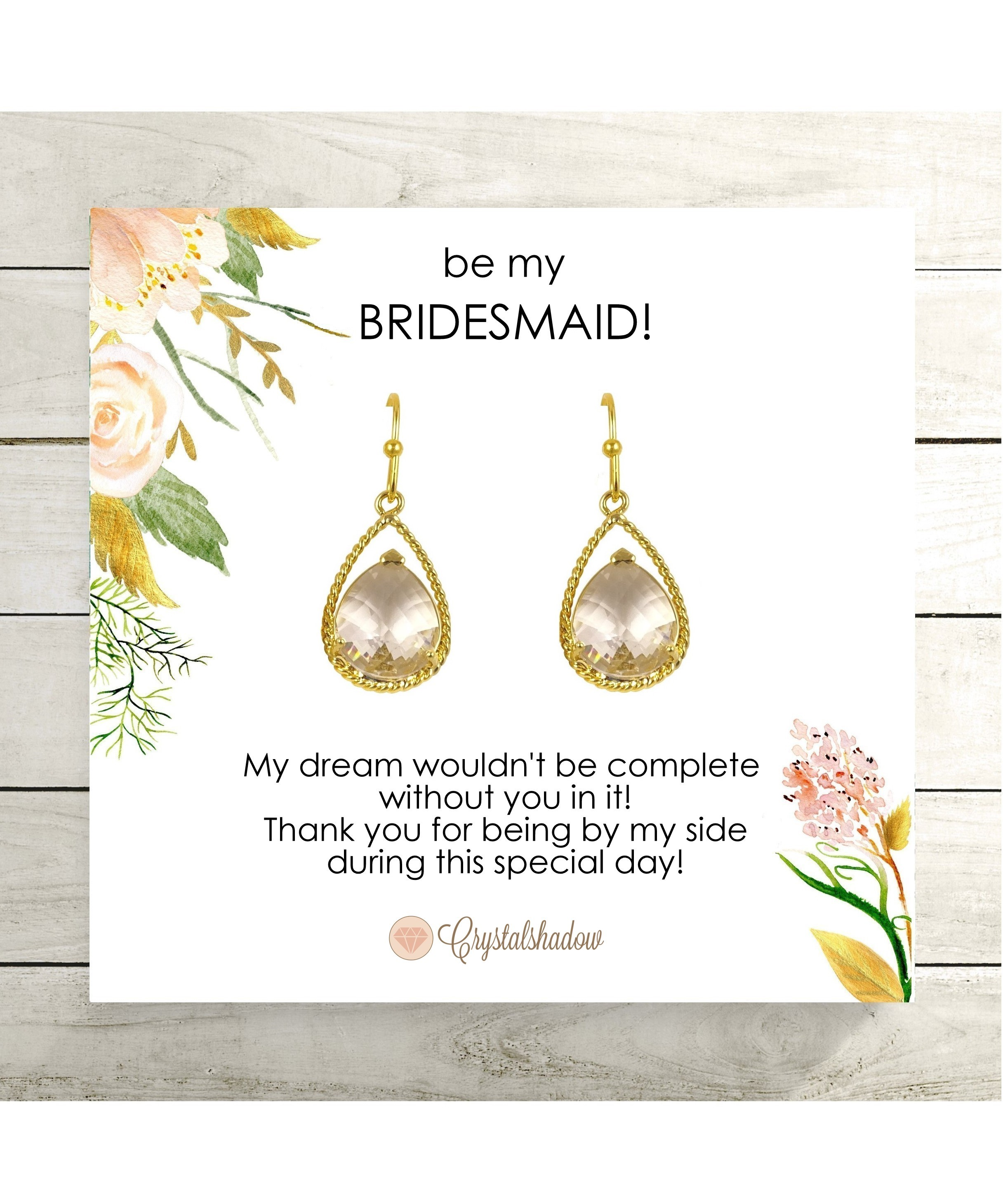 Clear Crystal Bridesmaid Earrings Maid Of Honor With Gift Message