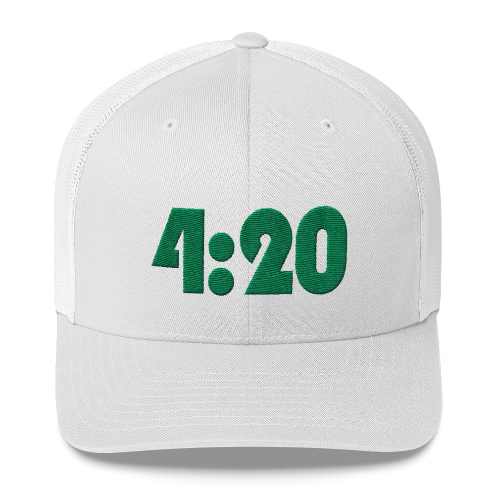 148fefbf Kelly Green 4:20 White Trucker Hat on Storenvy