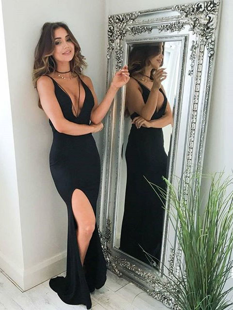 Sexy Mermaid V Neck Long Black Slit Prom Dress Evening Dress On