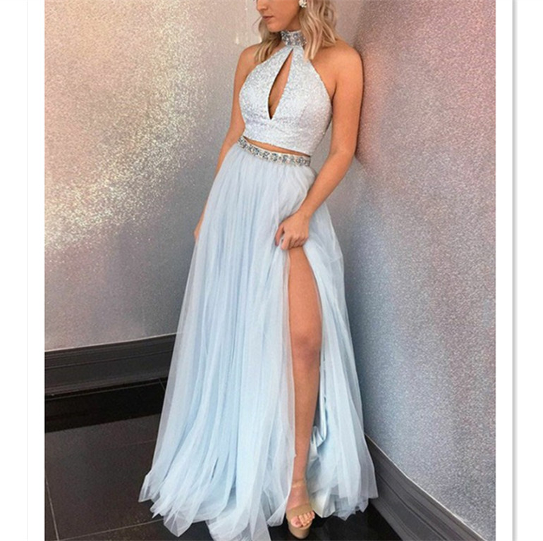 274bf855f9 Two Piece Prom Dresses High Neck Sequins Rhinestone Long Slit Chic ...