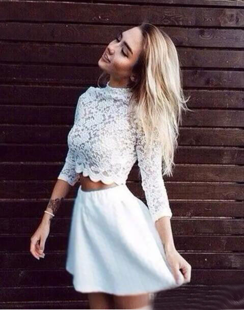 Cute Two Piece Long Sleeve White Lace Homecoming Dress Short