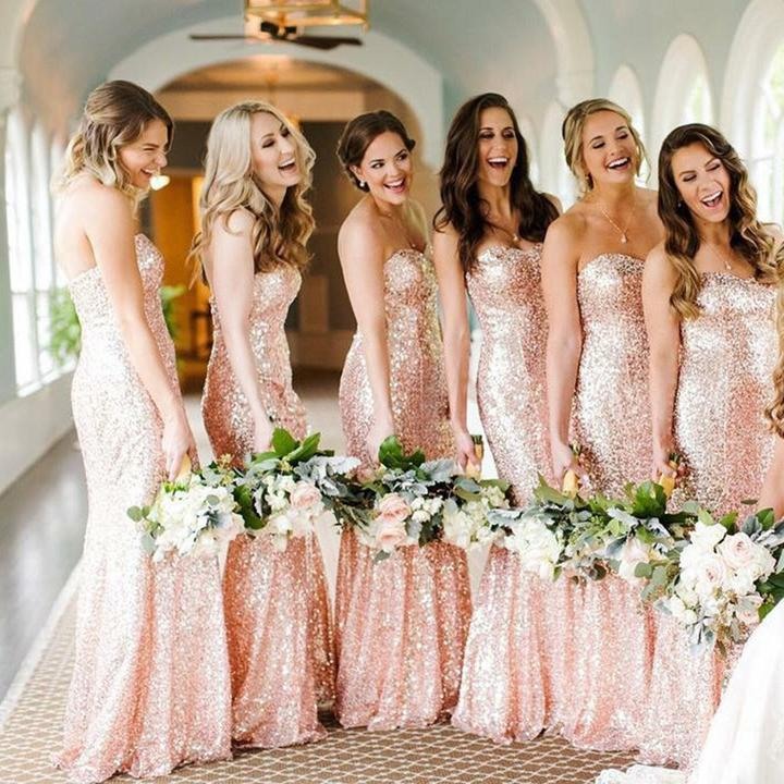 bd3b6fef880 Mermaid Sparkly Newest Sweetheart Rose Gold Bridesmaid Dresses ...