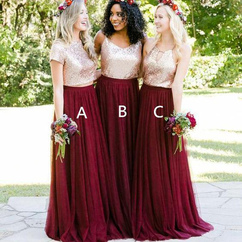64840e81b1 Short Sleeves Gold Sequin Bridesmaid Dresses