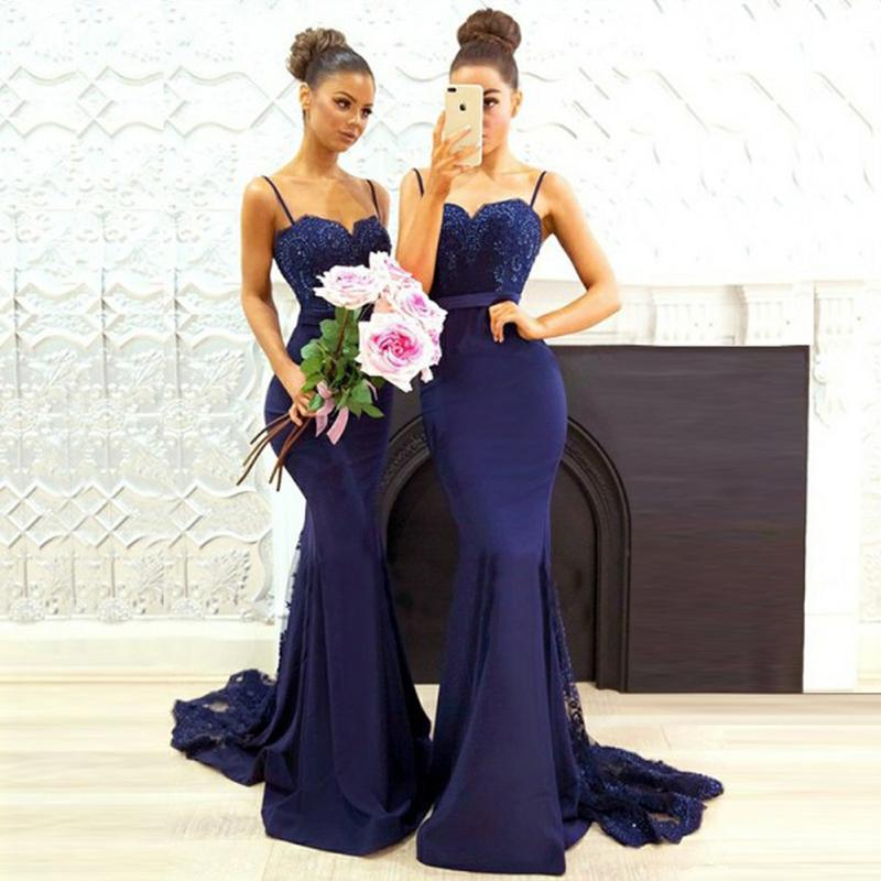 b4ff84391440a Sexy Dark Navy Bridesmaid Dress, Spaghettis Straps Lace Mermaid Maid of the  Honor Dress