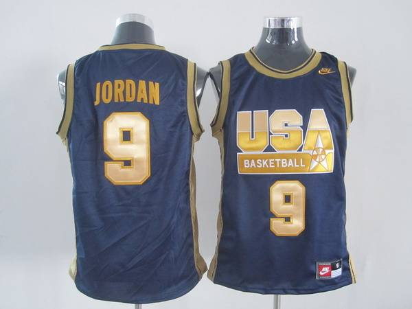 a8a99e59765 Nike Olympic 9# Michael Jordan Dark Blue With Gold NO. Stitched NBA ...