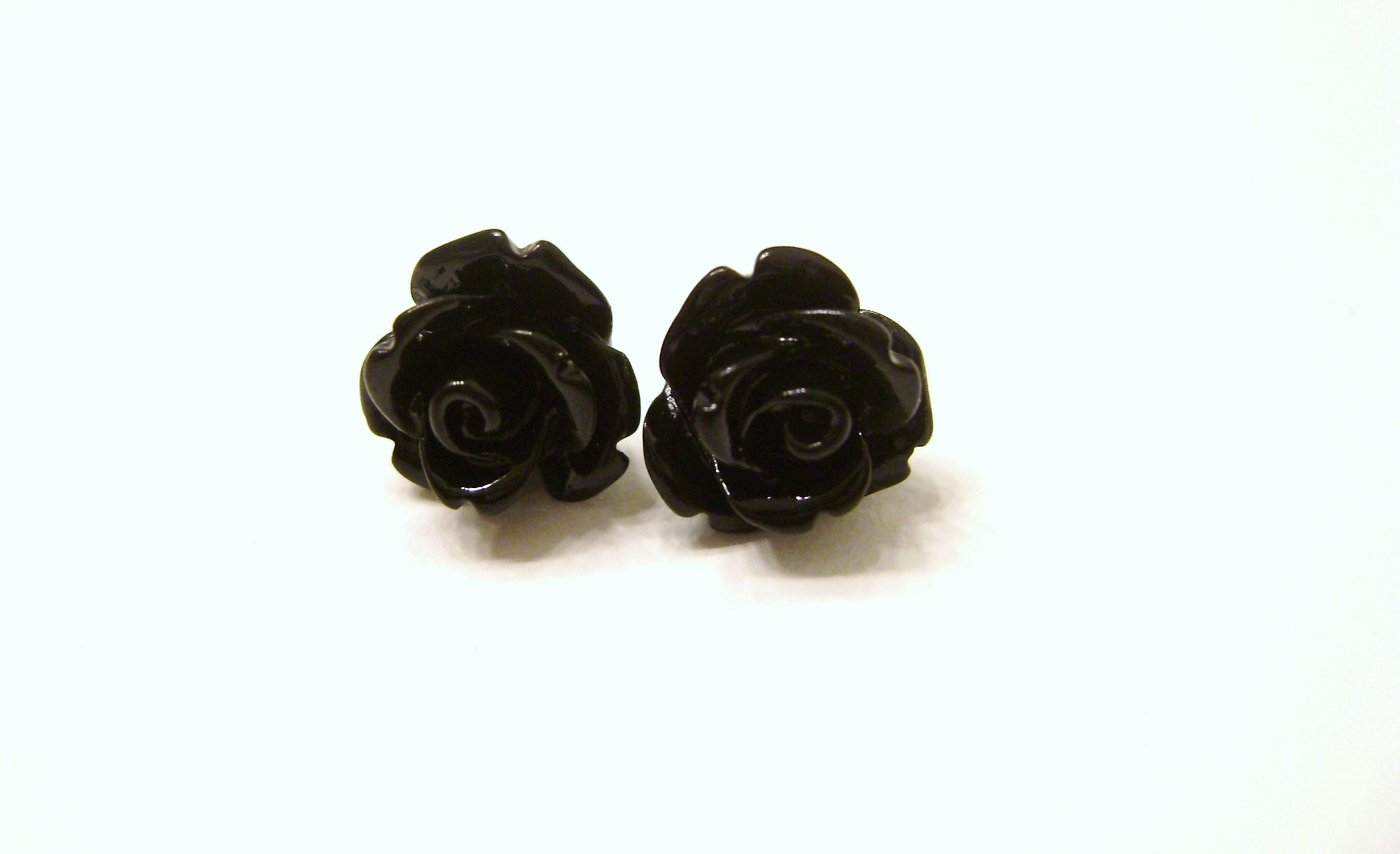 Black rose flower stud earrings bridesmaid earrings 10mm lead free dsc06903 original izmirmasajfo