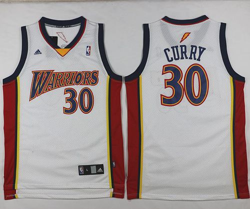 Warriors  30 Stephen Curry White Throwback Stitched NBA Jersey on ... b78d44d85