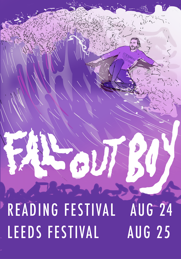 1bd309370 Fall Out Boy Tour Poster / USA or R+L from Eejit Gherkin Illustrations