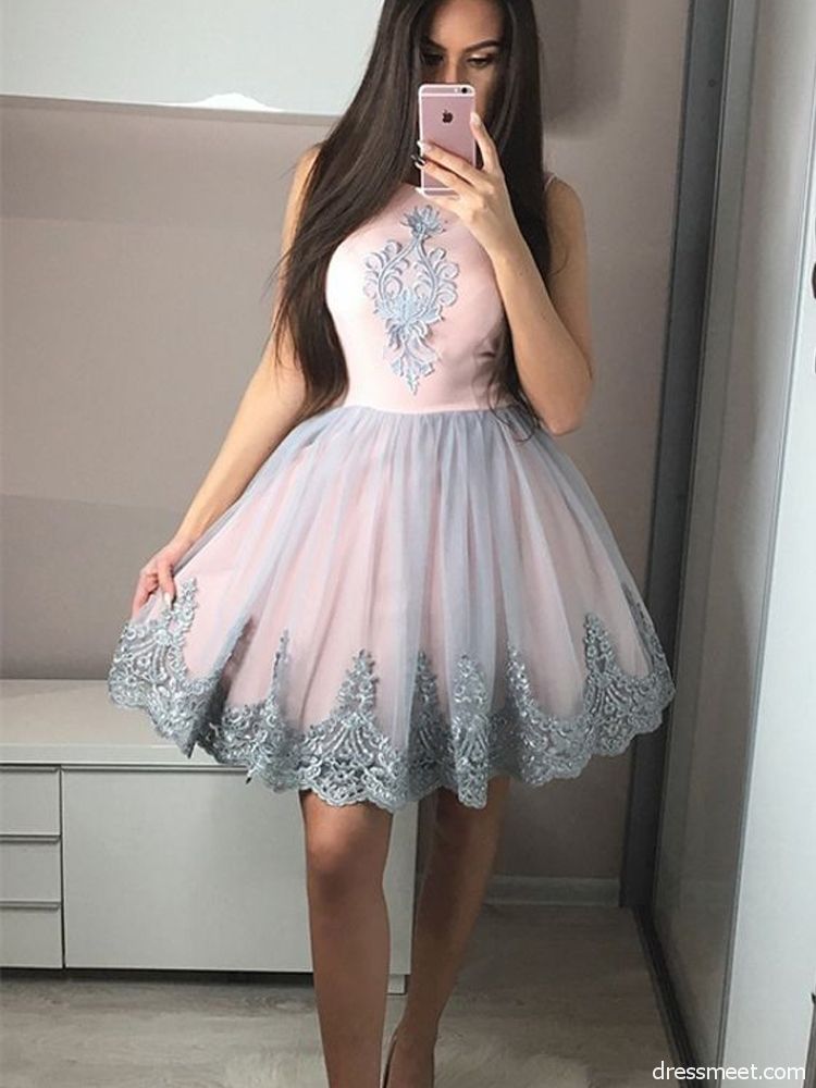 a9a5a19e24 A-Line Round Neck Pink and Grey Homecoming Dress with Applique