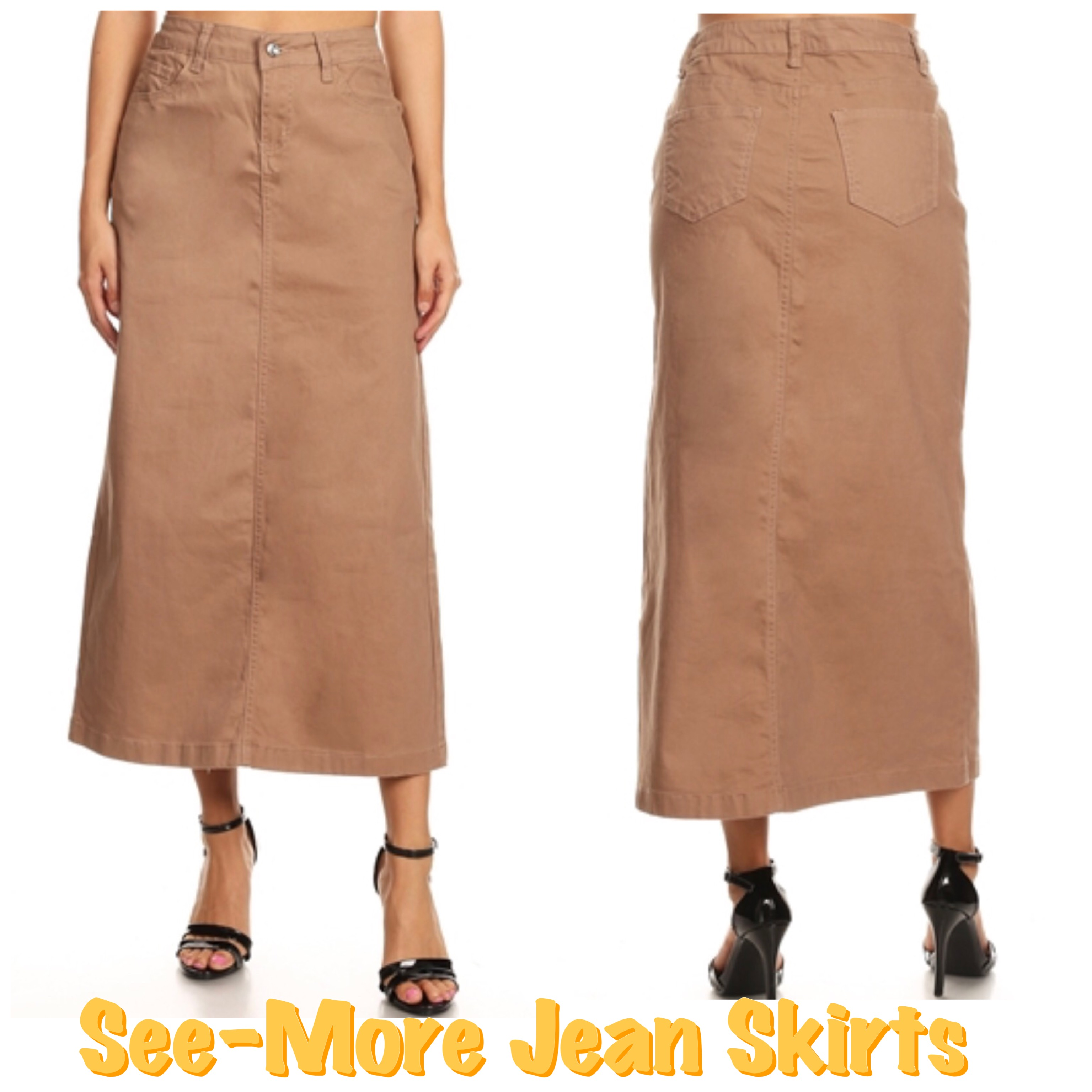 44e0010399 KENYA DARK KHAKI LONG SKIRT · See-More Jean Skirts · Online Store ...