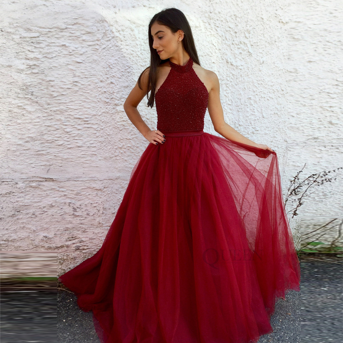 be9309489dbd Designer Burgundy Beaded Top A-line Tulle Halter Neck Long Evening Prom  Dress With Backless