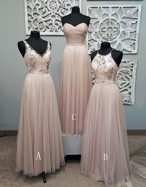 b1ce0a2ce40e Mismatched Pale Blush Pink Lace Custom Bridesmaid Dresses ...