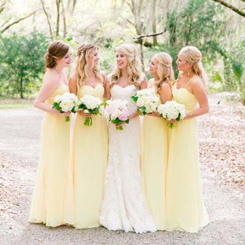 Pretty Long Bridesmaid Dresses Light Yellow Long