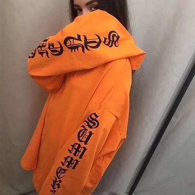 555b47308f6fc Harajuku vetements orange black grey oversized hoodie women letter printed  on sleeves pullover sweatshirts