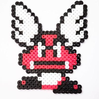 Large Jumping Mario Bead Sprite Pixel Art Piece A Little