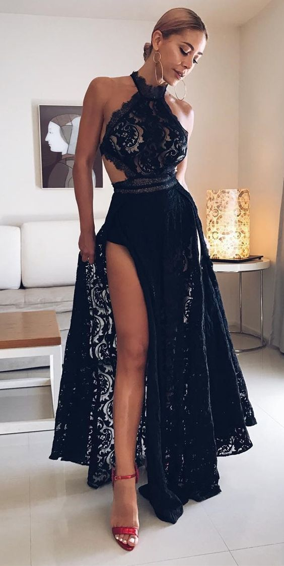 f791dc6649e Charming Halter A-Line Floor Length Black Lace Prom Homecoming Dress with  High Split ...