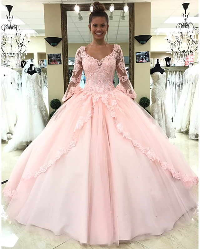e6f04f65ad2 Long Sleeves Sweet 16 Dresses Lace Quinceanera Dresses Pink Ball Gown Style