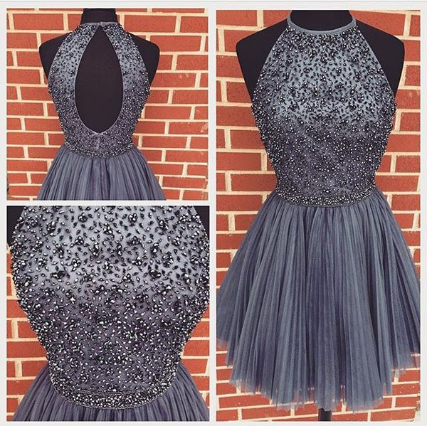 e0217a6a75 Elegant Gray Beading Tulle Short Homecoming Dresses For Teens
