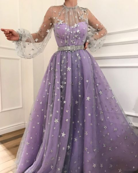 Charming Purple Prom Dresstulle With Star Evening Dresslong A