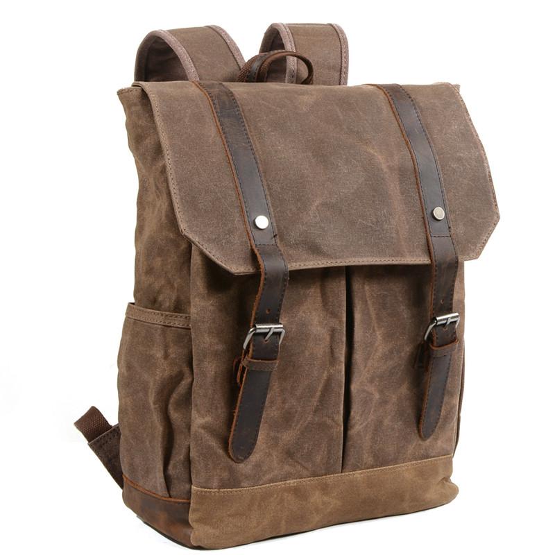 Handmade Canvas Leather Backpack Men Travel Backpack School