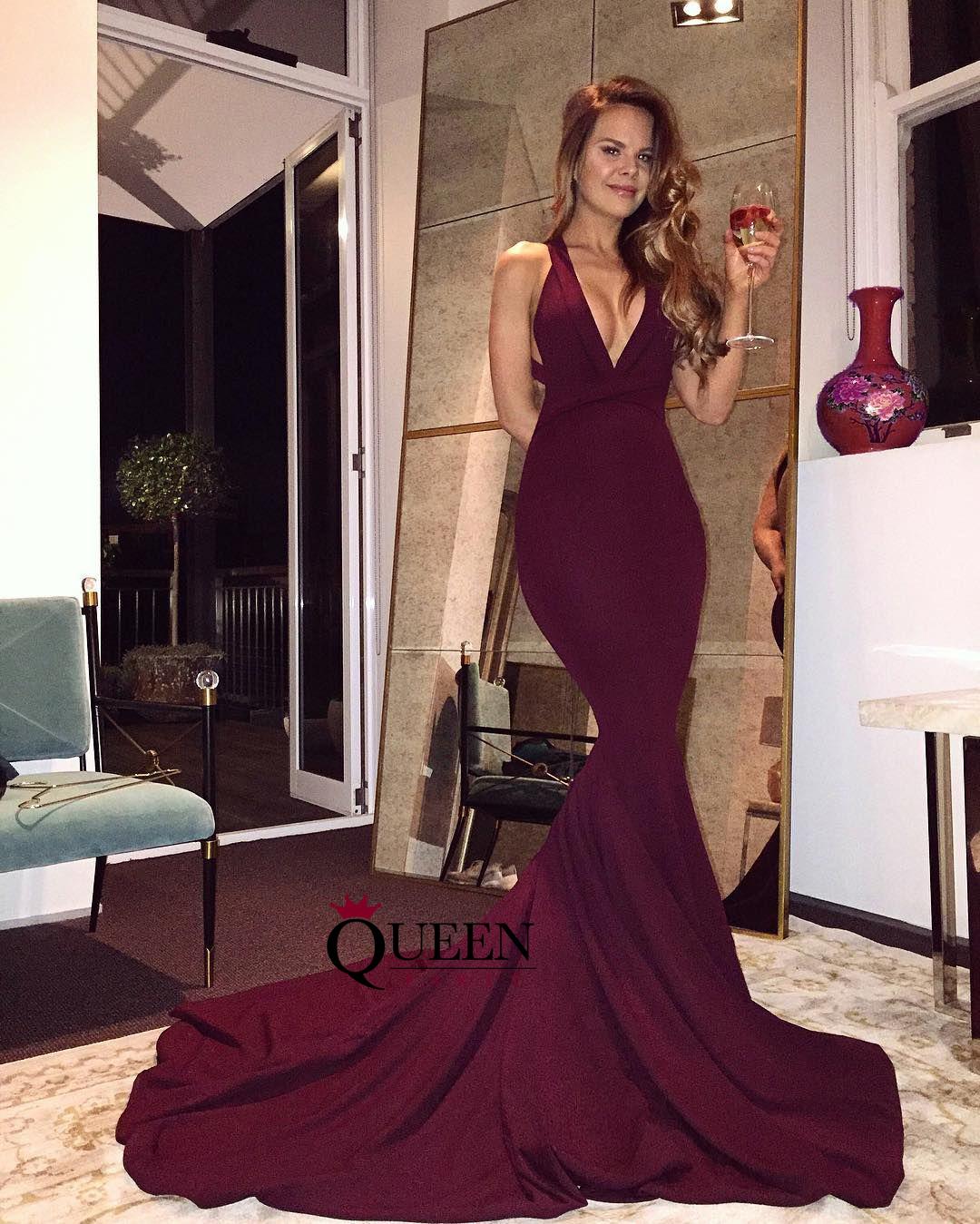 fa802ccb142 Sexy Deep V-Neck Burgundy Mermaid Long Prom Dress