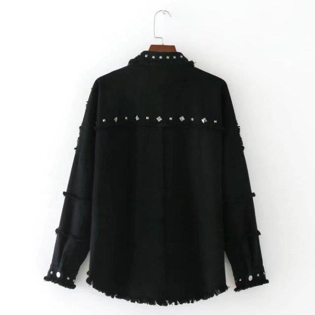 00ae7831 ZARA Womens Denim shirt Rivets Oversized Denim Jacket Female Jean ...