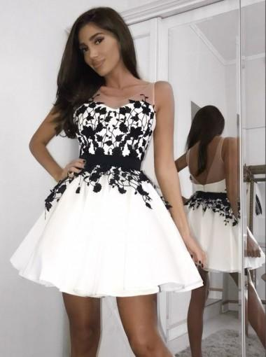 A Line Black Lace Appliques Sleeveless White Short Homecoming Dress Hd0403 From Romanbridal
