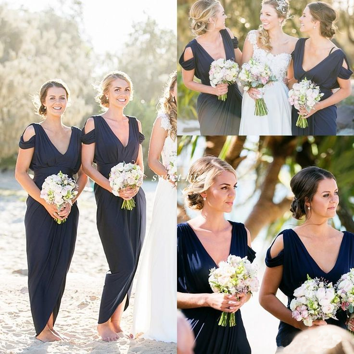 Navy Jersey Bridesmaid Dresses Beach Wedding Bridesmaid Dresses Bridesmaid Dresses Pd190534 From Focusdress
