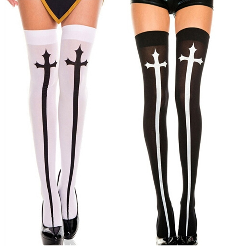 85b48396cac white black cross print semi-sheer creepy cute over the knee thigh high  socks opaque gothic lolita stockings on Storenvy