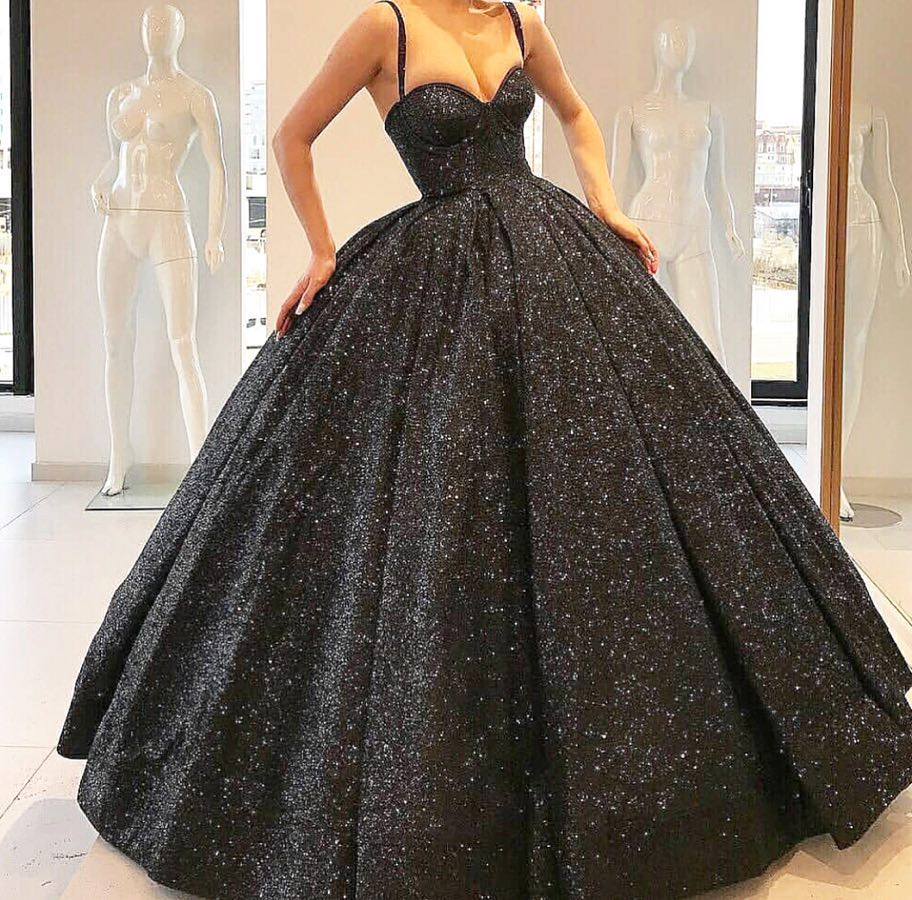 77f1e96ddb4 Sparkly Black Straps Long Prom Dress Ball Gown · wendyhouse · Online ...