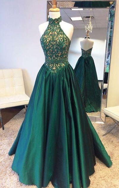 72cbf95afa Green Prom Dresses 2019 Halter Neckline