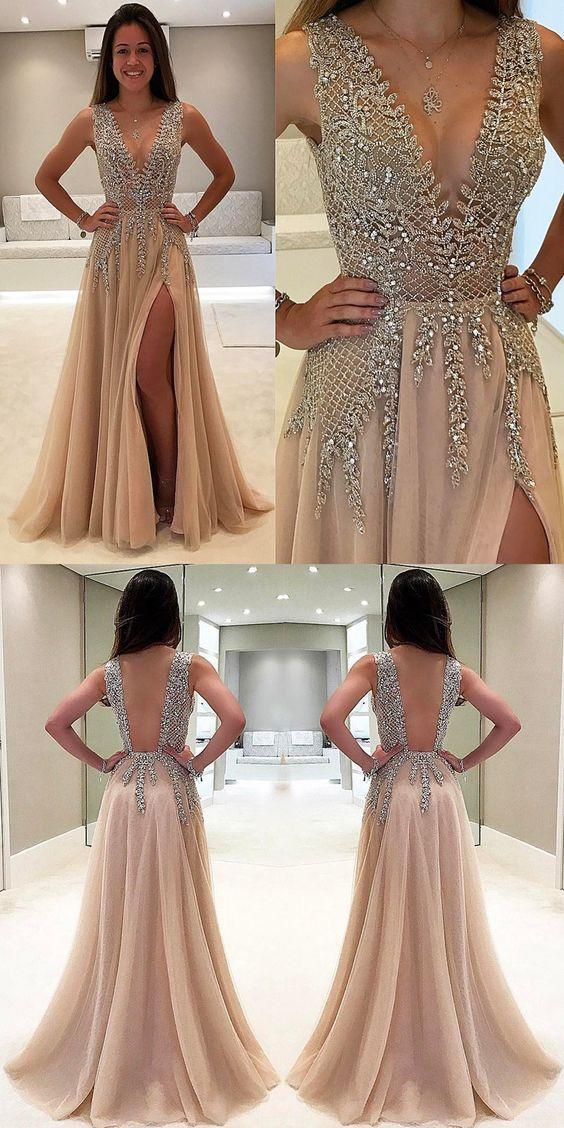62ed166f18cbda Sex Long Prom Dress with Slit Deep V Neckline, Fashion Wedding Party Dress,  Popular