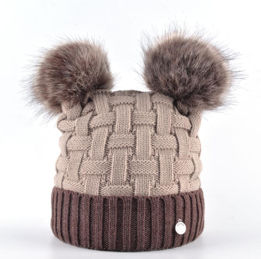 ... Winter Womens Beanie Hat With Two PomPom Knitting Wool Skullies Cap  Female Imitation Fur Ball Knitted ... 6ea586a5a