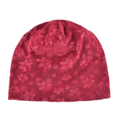 c5545da4c3e24 ... Autumn Winter Hats For Women Soft Embossing Flowers Bonnet Caps Ladies  Double Layer Warm Skullies Beanies ...