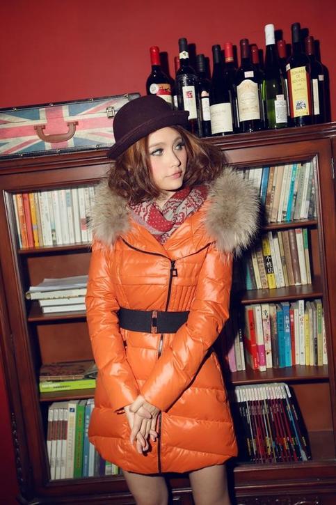 Orange Winter Thick Extra Large Fur Collar Down Coat White