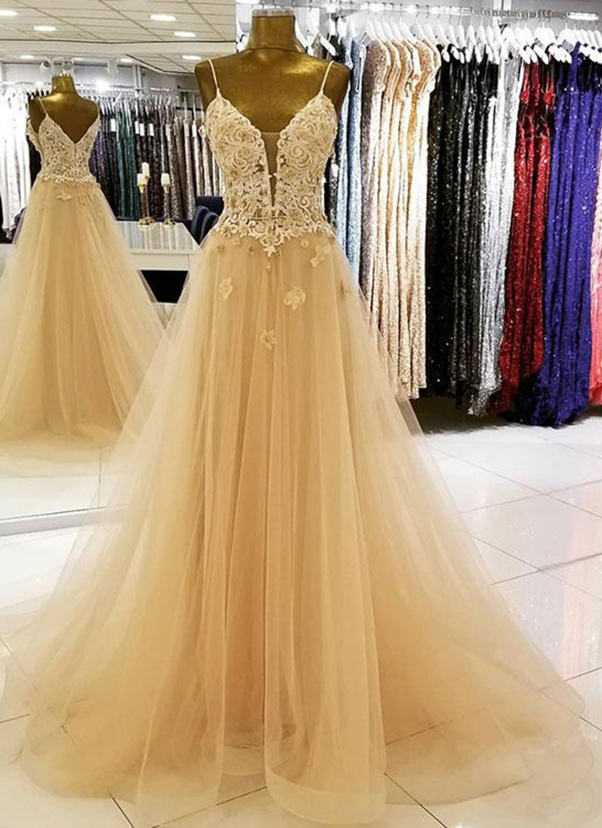 e5465ae3ef Cheap Prom Dresses by SweetheartDress · 2019 Champagne tulle long v ...