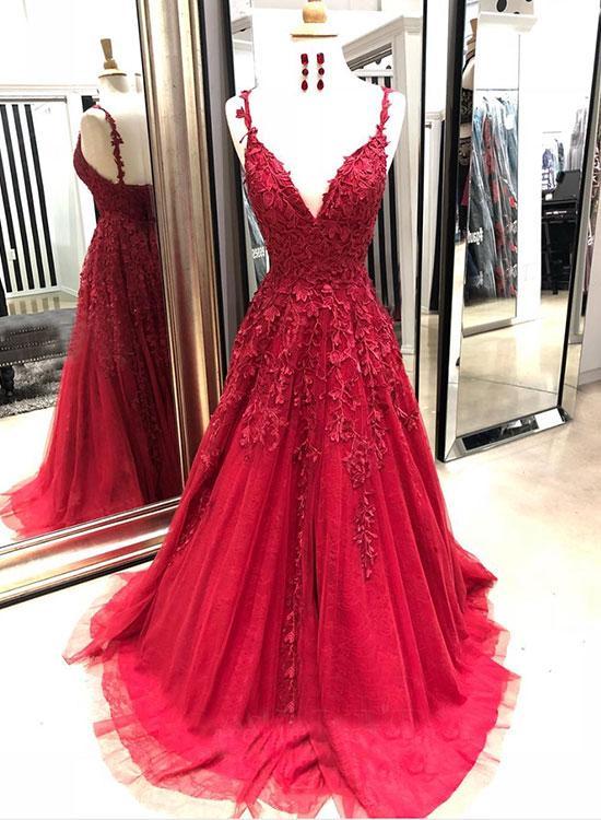 a9b7c7431709 Burgundy v neck lace tulle long prom dress