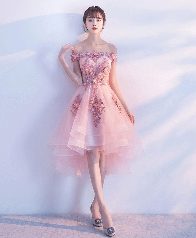 cdf3f1fa196 ... Pink tulle lace short prom dress