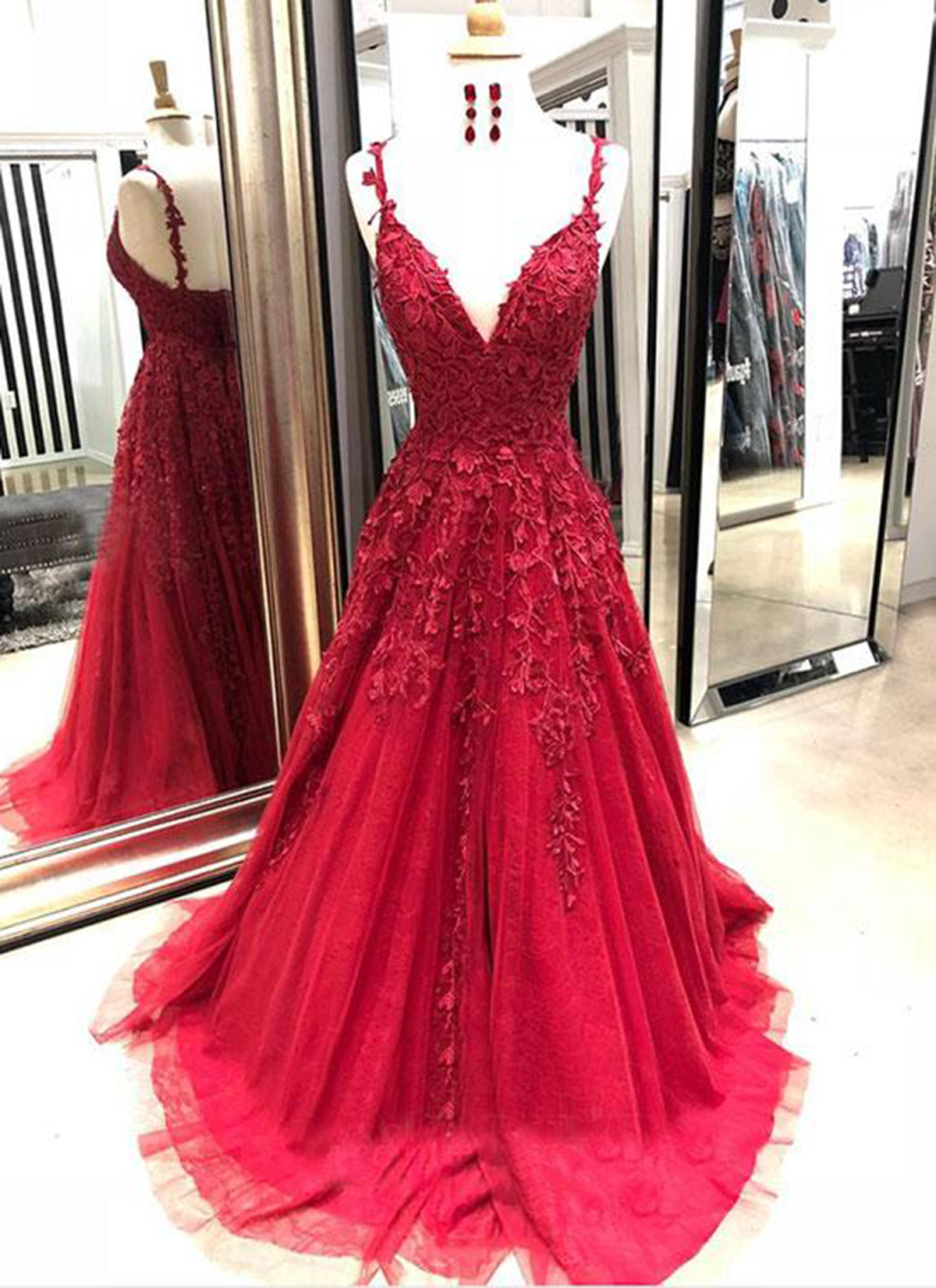 Burgundy Tulle V Neck Long Spring Prom Dress With Lace Appliqué From Sweetheart Dress
