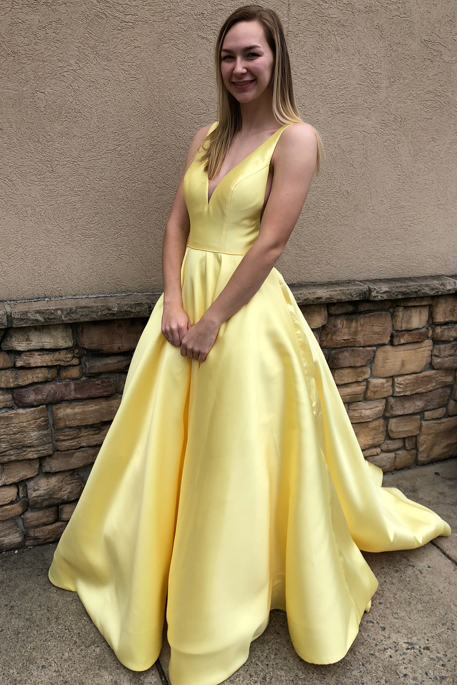 Yellow Prom Dress V Neckline, Ball Gown