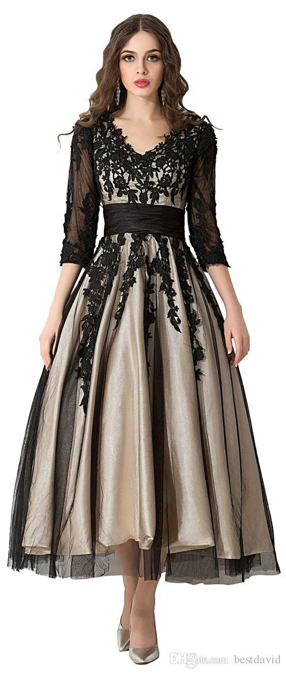 401b20df09f Champagne And Black Tea Length Prom Evening Gowns